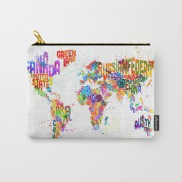 Paint Splashes Typography Text World Map Carry-All Pouch