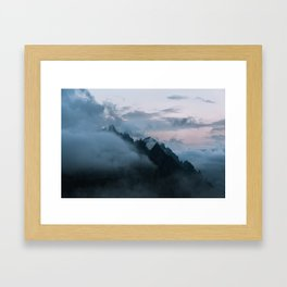 Dolomite Mountains Sunset covered in Clouds - Landscape Photography Framed Art Print