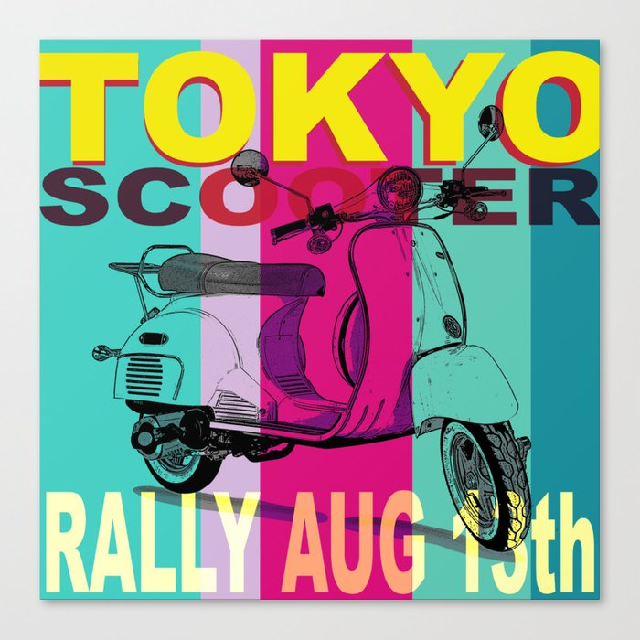 Tokyo Scooter Rally Blue Square Canvas Print
