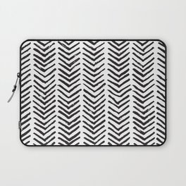 Black and white brush painted chevron Laptop Sleeve