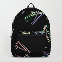 Patterns from flowing lines and triangles in white multi colored tones for fabric or decorations. Backpack