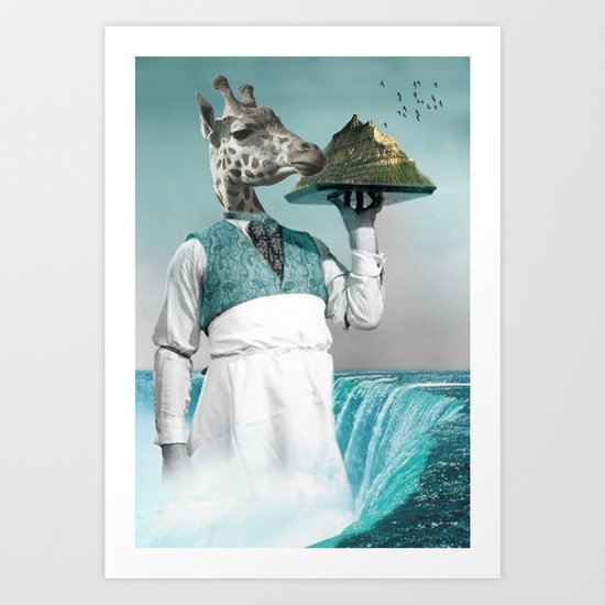 giraffe waiter with bombe alaska Art Print