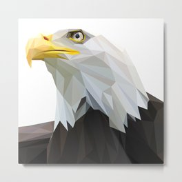 American Eagle Head Lowpoly Art Illustration Metal Print