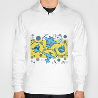airplanes Hoodies featuring blue airplanes by Isabella Asratyan