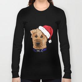 Irish Soft Coated Wheaten Terrier Dog Christmas Hat Long Sleeve T-shirt