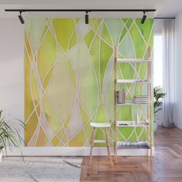 Lemon & Lime Love - abstract painting in yellow & green Wall Mural