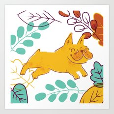 Happy Fall, Dogs! (Frenchie) Art Print