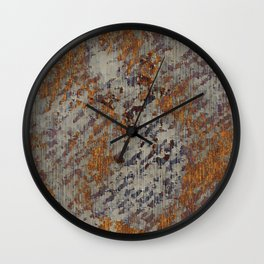 Graphic Grunge Orange and Grey Plaster Abstract Wall Clock
