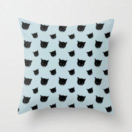 Bussie - the cute cartoon kitten. Blue pattern Throw Pillow