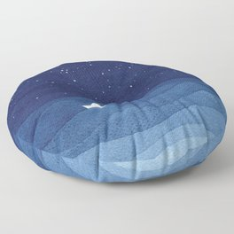 blue ocean waves, sailboat ocean stars Floor Pillow