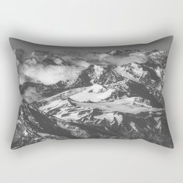 Black and White Andes Mountains Aerial View, Chile Rectangular Pillow