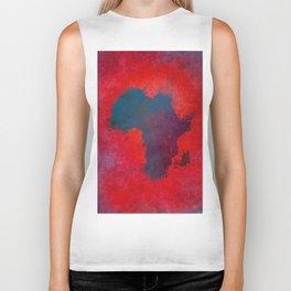 Africa map 3D red blue #africa #map Biker Tank