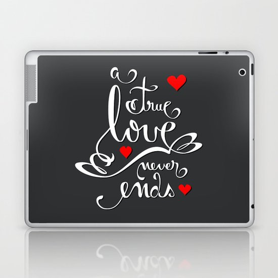 Valentine Love Calligraphy and Hearts V2 Laptop & iPad Skin