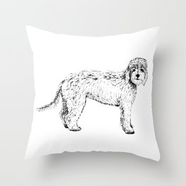 Labradoodle/Goldendoodle Ink Drawing Throw Pillow