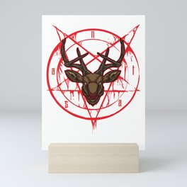Santa Pentagram with Reindeer Head Mini Art Print