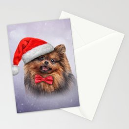 Dog Pomeranian Spitz in red hat of Santa Claus Stationery Cards