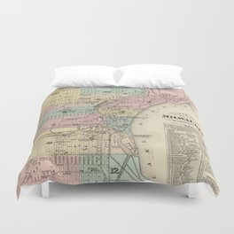 Vintage Map of Milwaukee Wisconsin (1878) Duvet Cover