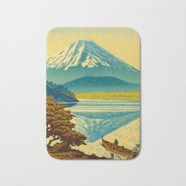 Japanese Woodblock Print Vintage Asian Art Colorful woodblock prints Mount Fuji Bath Mat