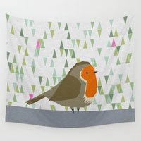 robin Wall Tapestries featuring Robin by Carmenland