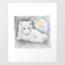 Baby wolf: classic sketch, pastel drawing, colorful Art Print