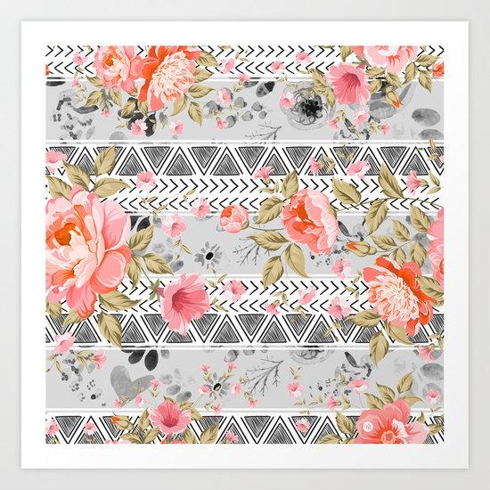 Pattern flowers with triangular shapes Art Print