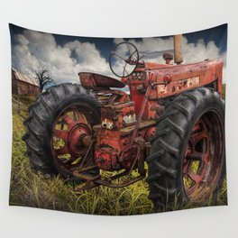 Abandoned Old Farmall Tractor in a Grassy Field on a Farm Wall Tapestry