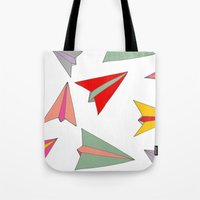 airplanes Tote Bags featuring Paper airplanes pattern by Isabelle Debionne