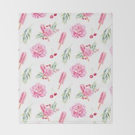 Tropical Chill Rose Throw Blanket