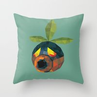 majoras mask Throw Pillows featuring Majoras Mask Deku Scrub by lowpolyfish