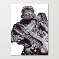 master chief Canvas Prints featuring Master Chief Pen Drawing by DeMoose_Art