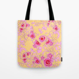 PINK-RED ROSE ABSTRACT FLORAL GARDEN ART Tote Bag