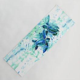 Turquoise Blue Sea Turtles in Ocean Yoga Mat