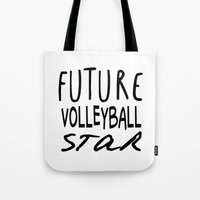 volleyball Tote Bags featuring Future Volleyball Star by raineon