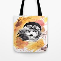 les miserables Tote Bags featuring Les Miserables by Taylor Starnes