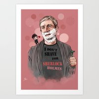 johnlock Art Prints featuring Shaving by Monika Gross