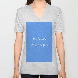 Hello world - blue Unisex V-Neck