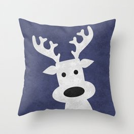 Christmas reindeer blue marble Throw Pillow