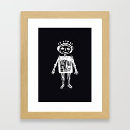 Little robot black-white illustration Framed Art Print