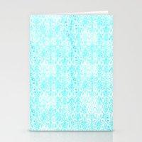 aqua Stationery Cards featuring Aqua Blue Damask by 2sweet4words Designs