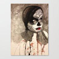 sugar skull Canvas Prints featuring sugar skull  by Joedunnz