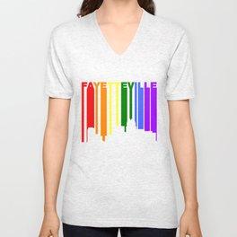 Fayetteville North Carolina Gay Pride Skyline Unisex V-Neck