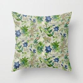 Alpine Flowers - Gentian, Edelweiss Throw Pillow