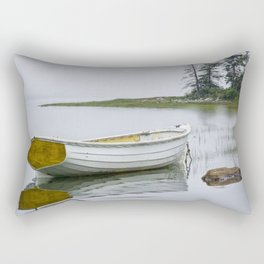 White Maine Boat on a Foggy Morning Rectangular Pillow