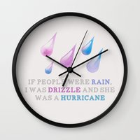looking for alaska Wall Clocks featuring Looking For Alaska: Drizzle by lsmyang