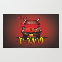 diablo Area & Throw Rugs featuring El Diablo/hell car by mangulica illustrations