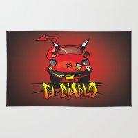 diablo Area & Throw Rugs featuring El Diablo/hell car by mangulica