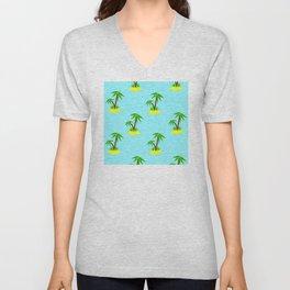 Summer Fun Pattern: Palm Tree Islands Floating in Ocean Unisex V-Neck