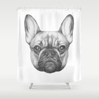 frenchie Shower Curtains featuring Frenchie by Victoria Novak