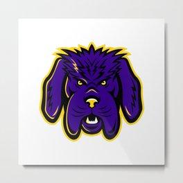 Newfoundland Dog Mascot Angry Metal Print