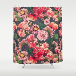 Vintage Flowers and Bees Shower Curtain
